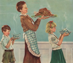 Illustration of Mother and Children Carrying Thanksgiving Dinner by Douglass Crockwell