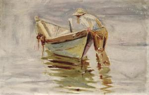 Fisherman.-Marion-McNay.-Oil-on-cardboard.-1950