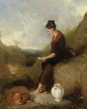A Young Girl seated on a rock reading a letter a dog curled up at her feet
